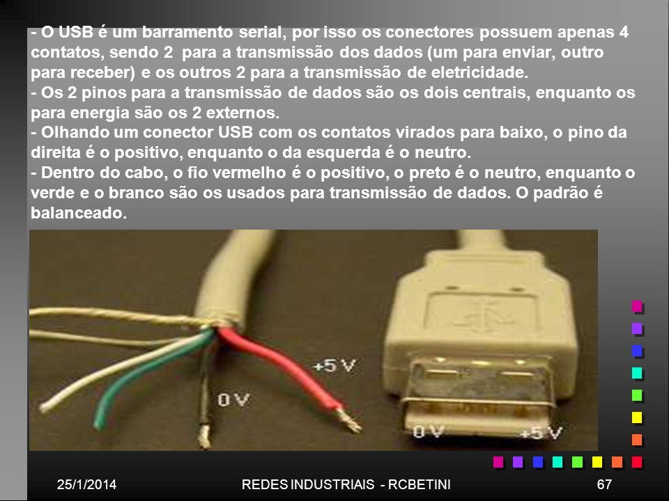 25/1/201467REDES INDUSTRIAIS - RCBETINI - O USB é um barramento serial, por isso os conectores possuem apenas 4 contatos, sendo 2 para a transmissão d