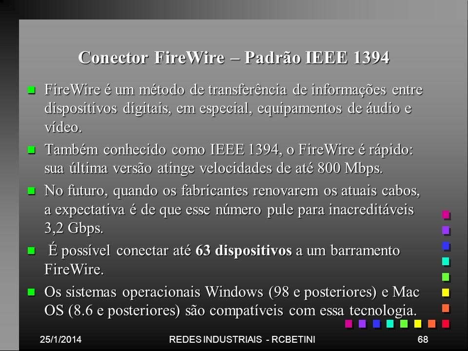 Conector FireWire – Padrão IEEE 1394 n FireWire é um método de transferência de informações entre dispositivos digitais, em especial, equipamentos de
