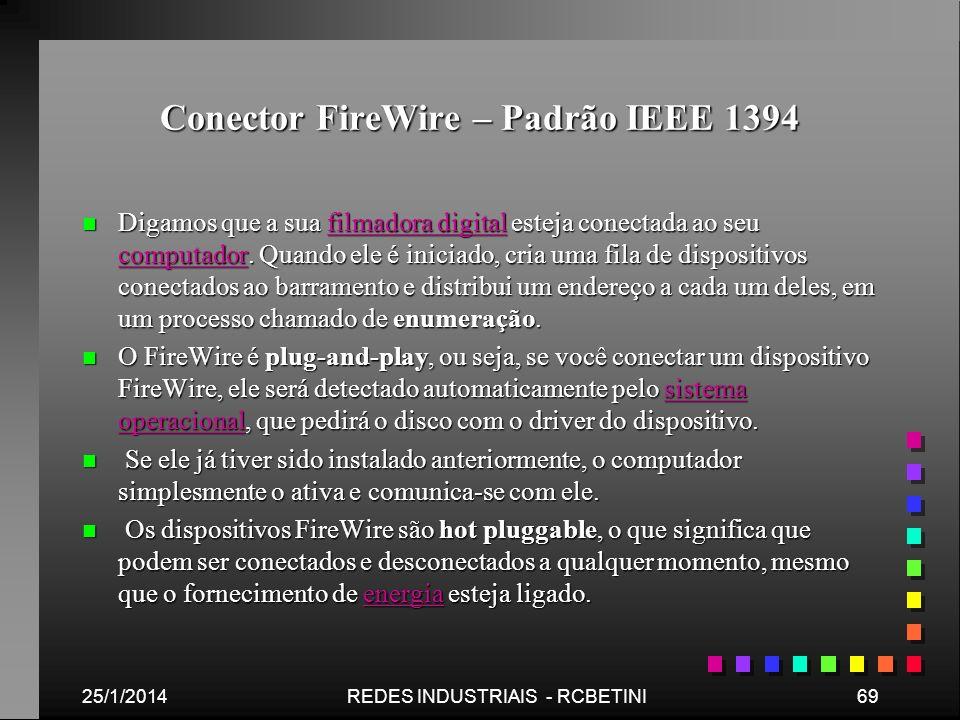 Conector FireWire – Padrão IEEE 1394 n Digamos que a sua filmadora digital esteja conectada ao seu computador. Quando ele é iniciado, cria uma fila de