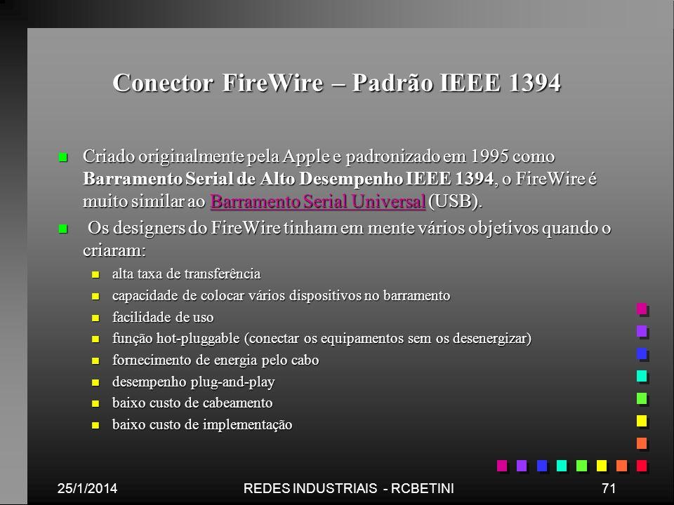 Conector FireWire – Padrão IEEE 1394 n Criado originalmente pela Apple e padronizado em 1995 como Barramento Serial de Alto Desempenho IEEE 1394, o Fi