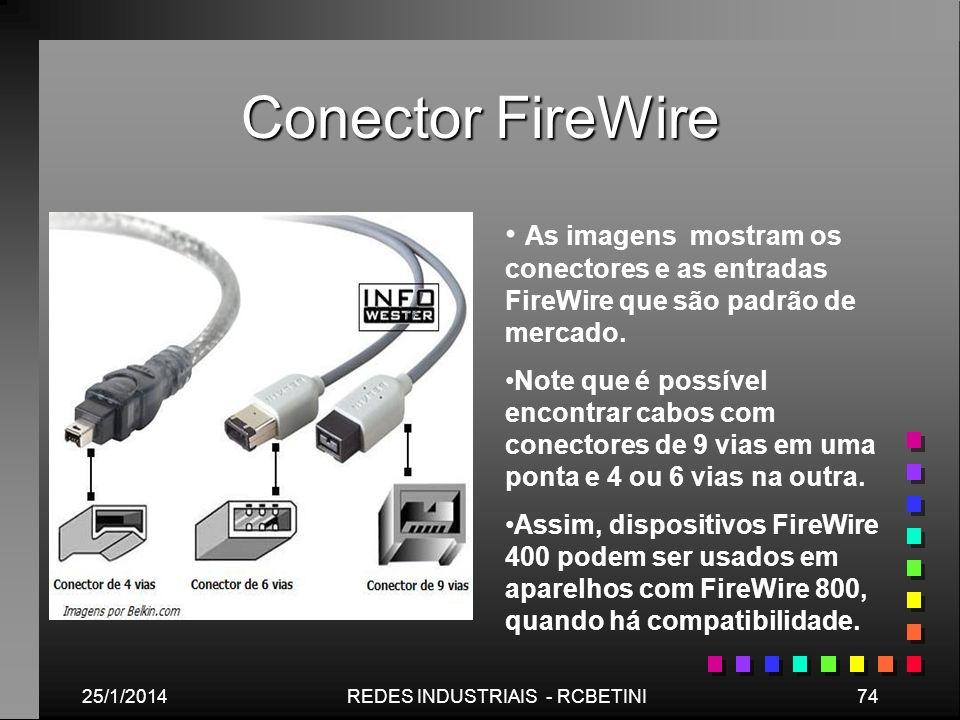 Conector FireWire 25/1/201474REDES INDUSTRIAIS - RCBETINI As imagens mostram os conectores e as entradas FireWire que são padrão de mercado. Note que