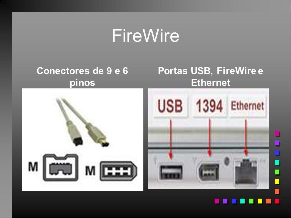 FireWire Conectores de 9 e 6 pinos Portas USB, FireWire e Ethernet