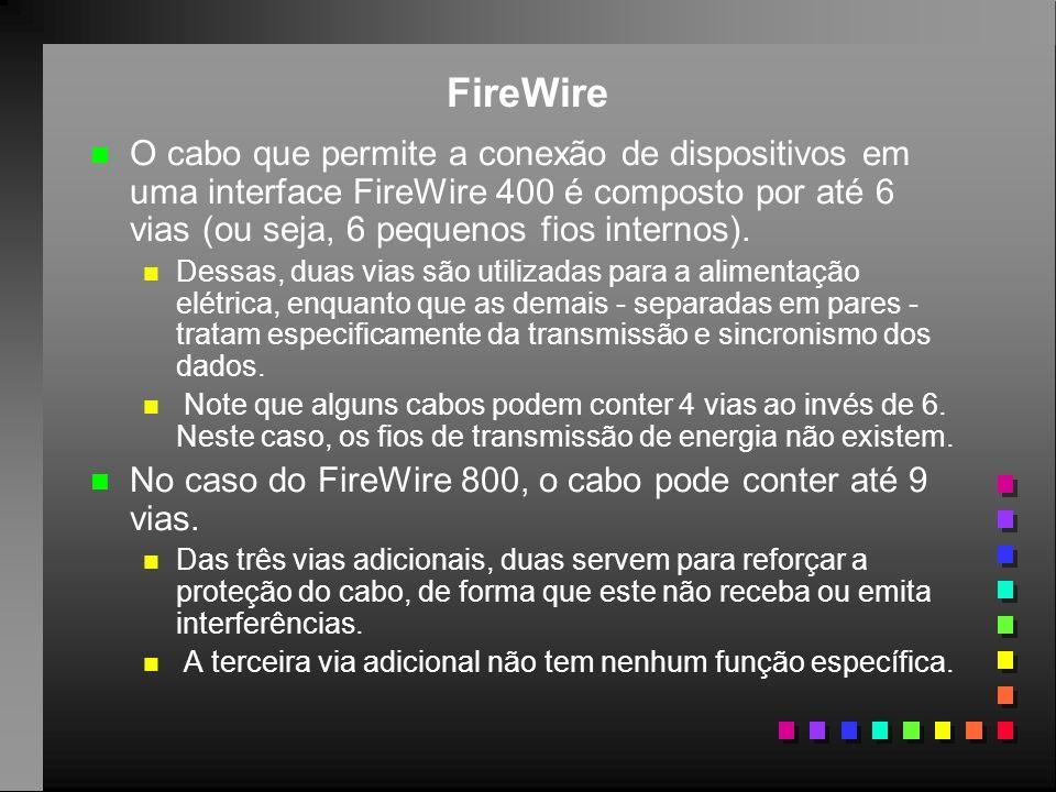 FireWire n n O cabo que permite a conexão de dispositivos em uma interface FireWire 400 é composto por até 6 vias (ou seja, 6 pequenos fios internos).