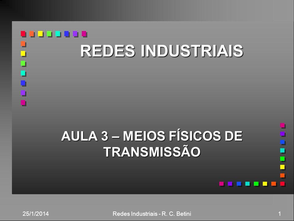 25/1/2014 Redes Industriais - R. C. Betini 1 REDES INDUSTRIAIS AULA 3 – MEIOS FÍSICOS DE TRANSMISSÃO