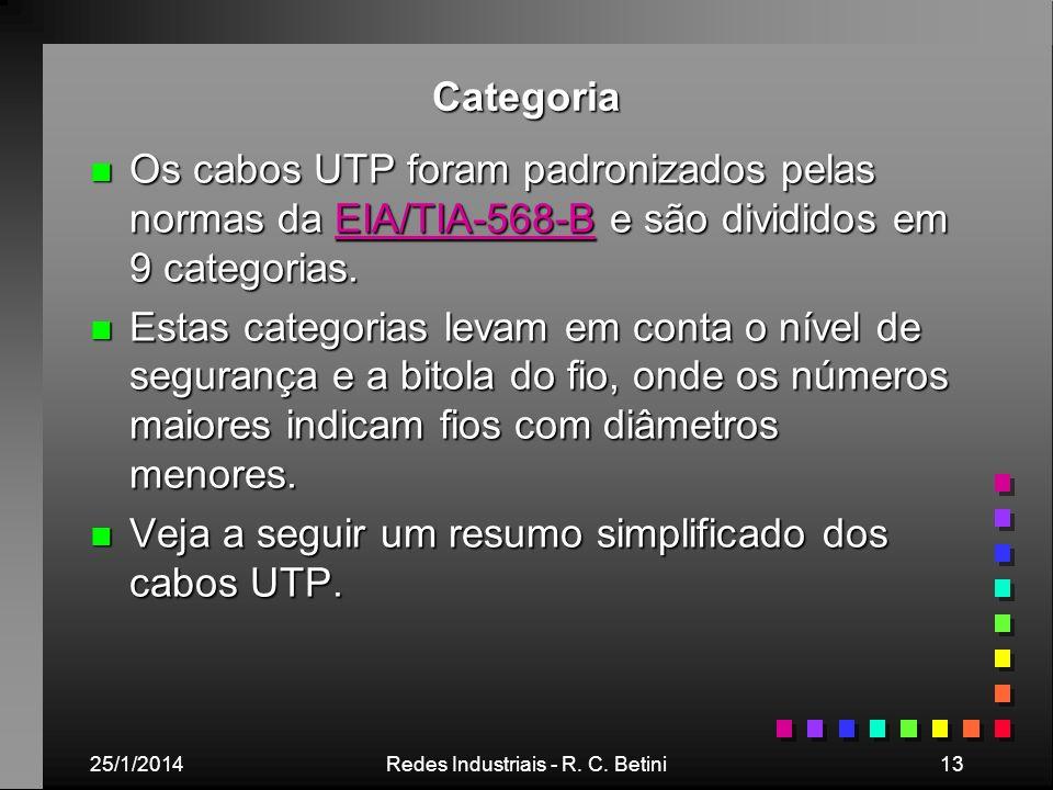 25/1/2014Redes Industriais - R. C. Betini13 Categoria n Os cabos UTP foram padronizados pelas normas da EIA/TIA-568-B e são divididos em 9 categorias.