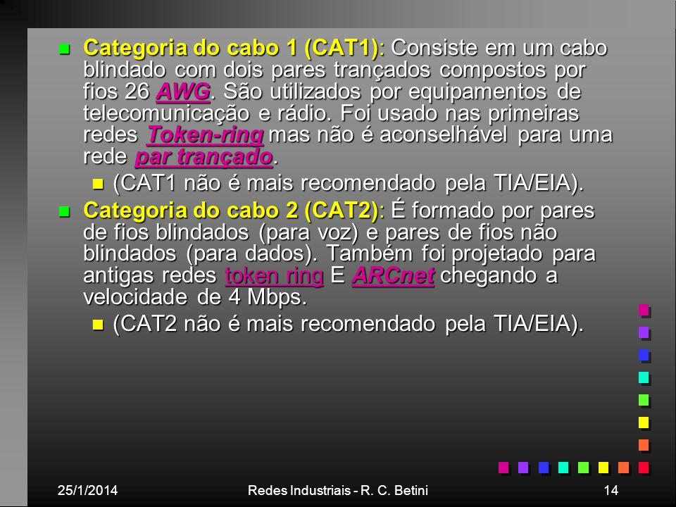 25/1/2014Redes Industriais - R. C. Betini14 n Categoria do cabo 1 (CAT1): Consiste em um cabo blindado com dois pares trançados compostos por fios 26