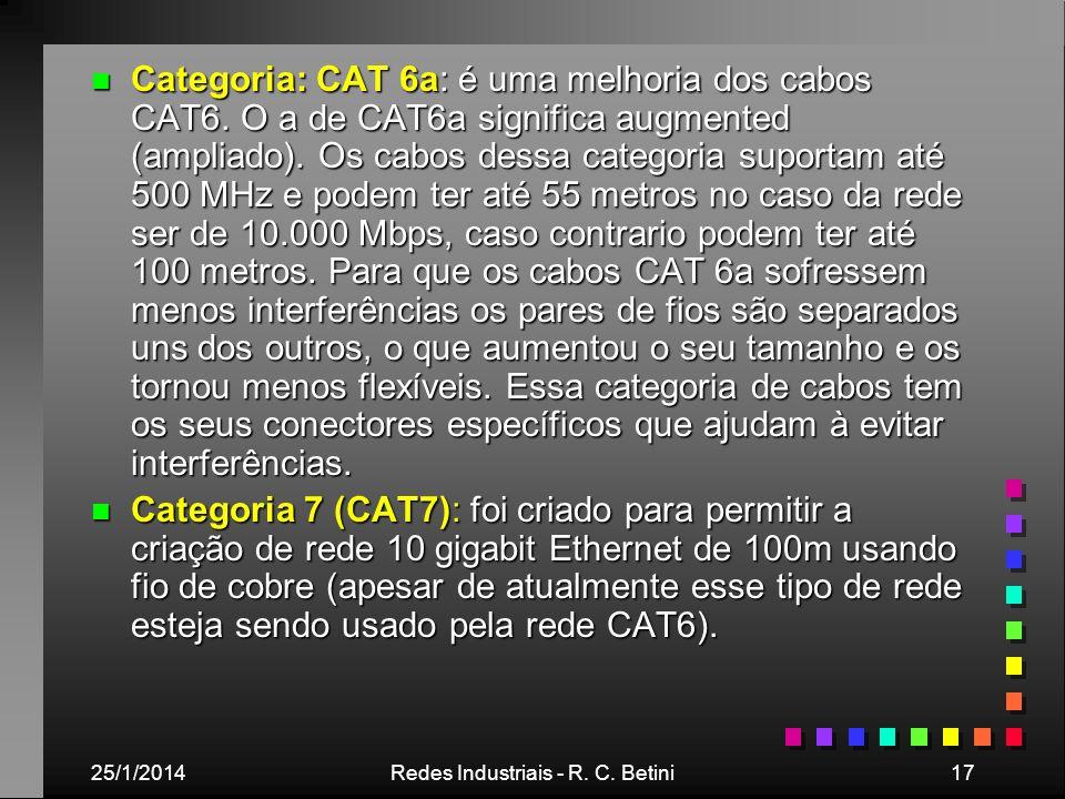 25/1/2014Redes Industriais - R. C. Betini17 n Categoria: CAT 6a: é uma melhoria dos cabos CAT6. O a de CAT6a significa augmented (ampliado). Os cabos