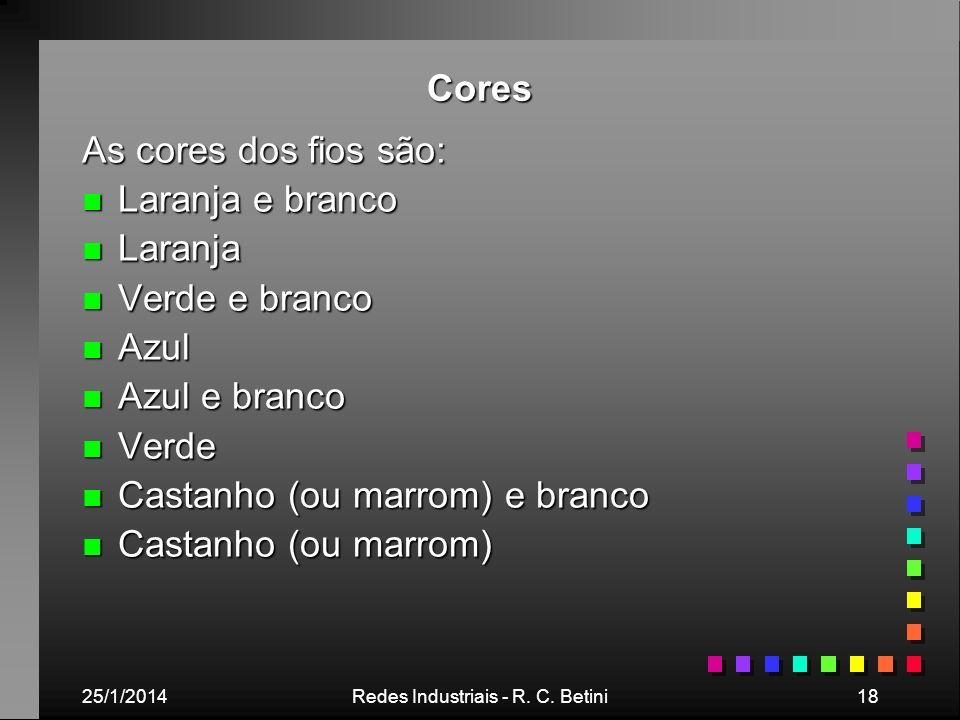 25/1/2014Redes Industriais - R. C. Betini18 Cores As cores dos fios são: n Laranja e branco n Laranja n Verde e branco n Azul n Azul e branco n Verde
