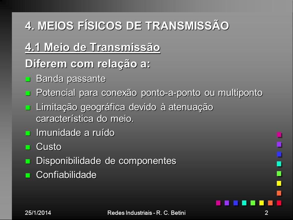 25/1/2014Redes Industriais - R. C. Betini2 4. MEIOS FÍSICOS DE TRANSMISSÃO 4.1 Meio de Transmissão Diferem com relação a: n Banda passante n Potencial