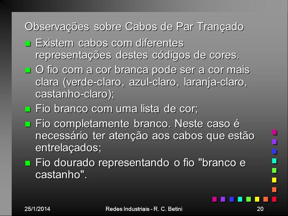 25/1/2014Redes Industriais - R. C. Betini20 Observações sobre Cabos de Par Trançado n Existem cabos com diferentes representações destes códigos de co