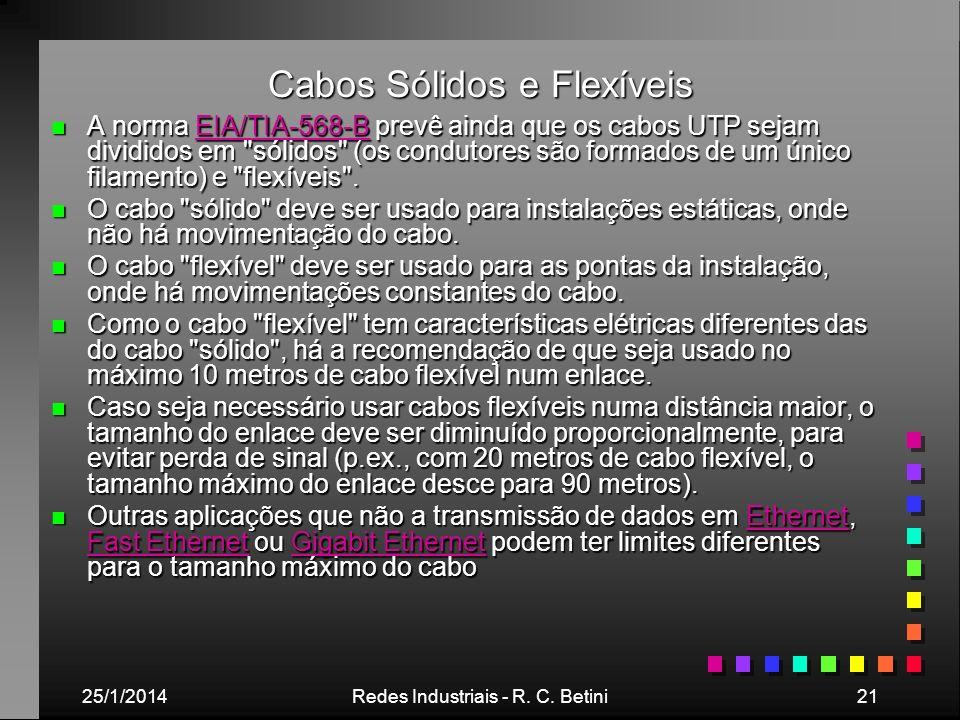25/1/2014Redes Industriais - R. C. Betini21 Cabos Sólidos e Flexíveis n A norma EIA/TIA-568-B prevê ainda que os cabos UTP sejam divididos em