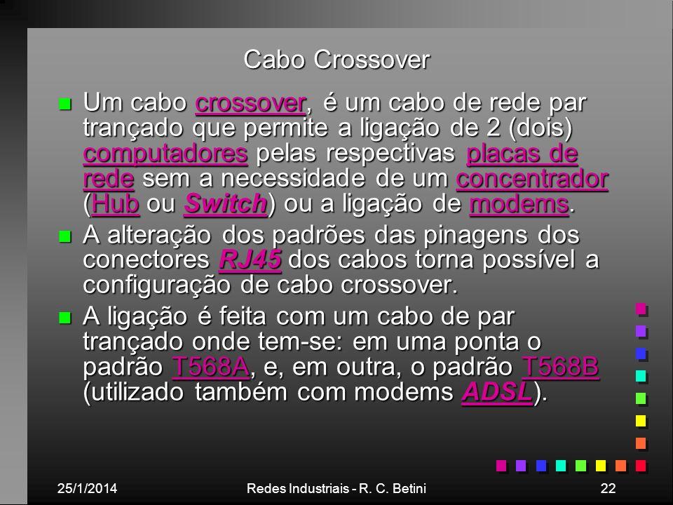 25/1/2014Redes Industriais - R. C. Betini22 Cabo Crossover n Um cabo crossover, é um cabo de rede par trançado que permite a ligação de 2 (dois) compu