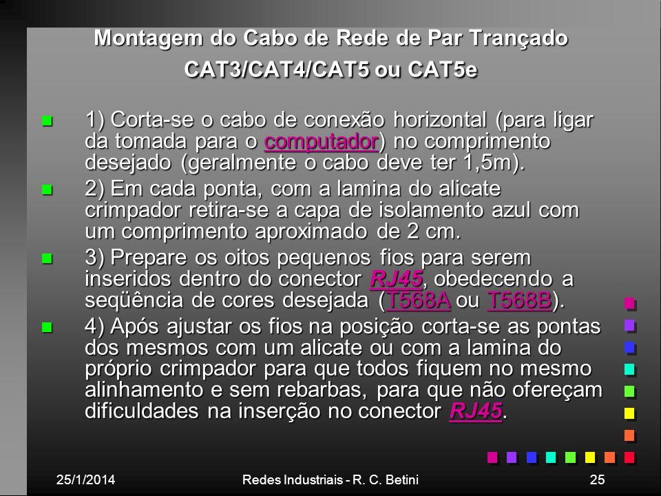 25/1/2014Redes Industriais - R. C. Betini25 Montagem do Cabo de Rede de Par Trançado CAT3/CAT4/CAT5 ou CAT5e n 1) Corta-se o cabo de conexão horizonta