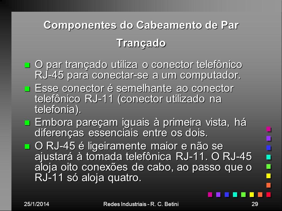 25/1/2014Redes Industriais - R. C. Betini29 Componentes do Cabeamento de Par Trançado n O par trançado utiliza o conector telefônico RJ-45 para conect