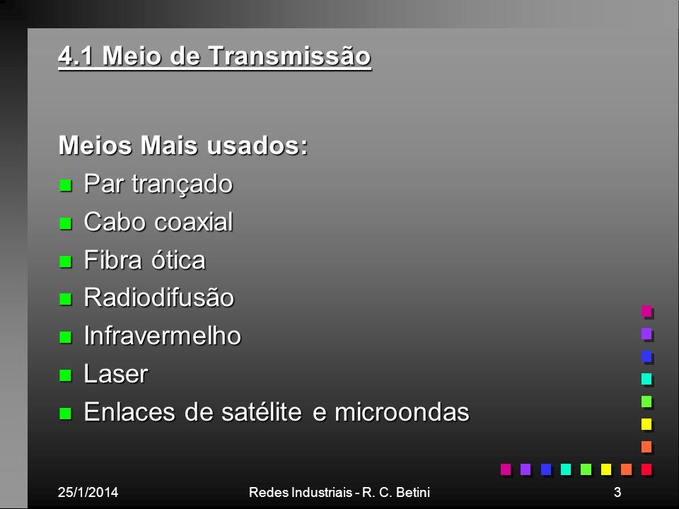 25/1/2014Redes Industriais - R. C. Betini3 4.1 Meio de Transmissão Meios Mais usados: n Par trançado n Cabo coaxial n Fibra ótica n Radiodifusão n Inf