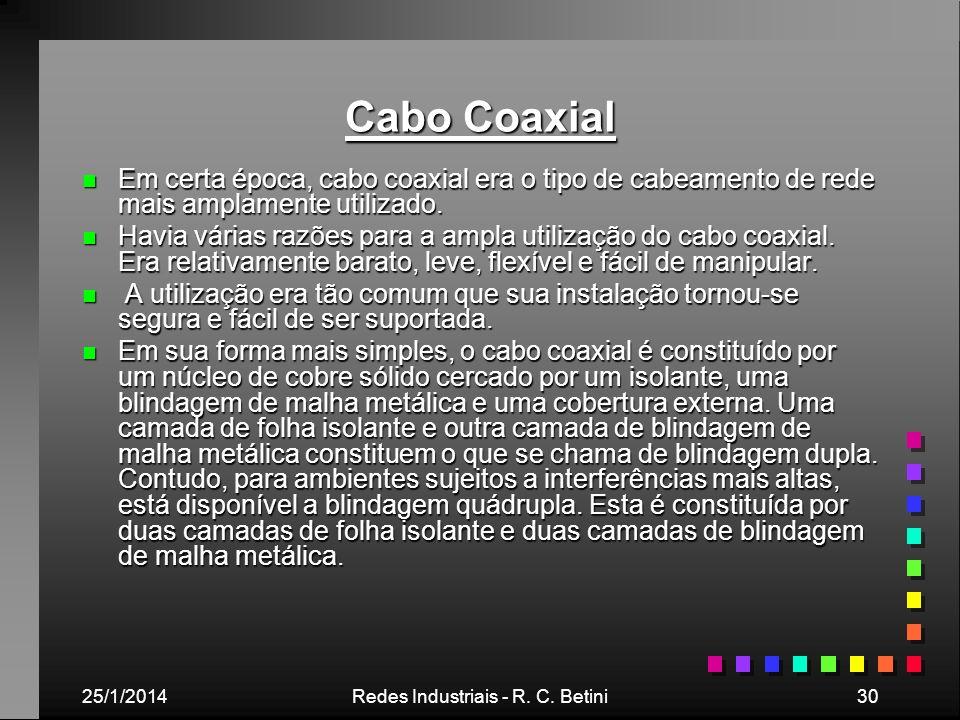 25/1/2014Redes Industriais - R. C. Betini30 Cabo Coaxial n Em certa época, cabo coaxial era o tipo de cabeamento de rede mais amplamente utilizado. n