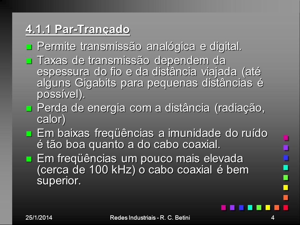25/1/2014Redes Industriais - R. C. Betini4 4.1.1 Par-Trançado n Permite transmissão analógica e digital. n Taxas de transmissão dependem da espessura