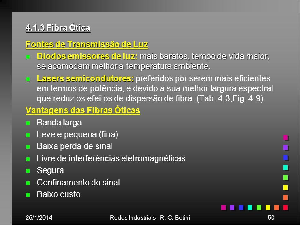 25/1/2014Redes Industriais - R. C. Betini50 4.1.3 Fibra Ótica Fontes de Transmissão de Luz n Diodos emissores de luz: mais baratos, tempo de vida maio