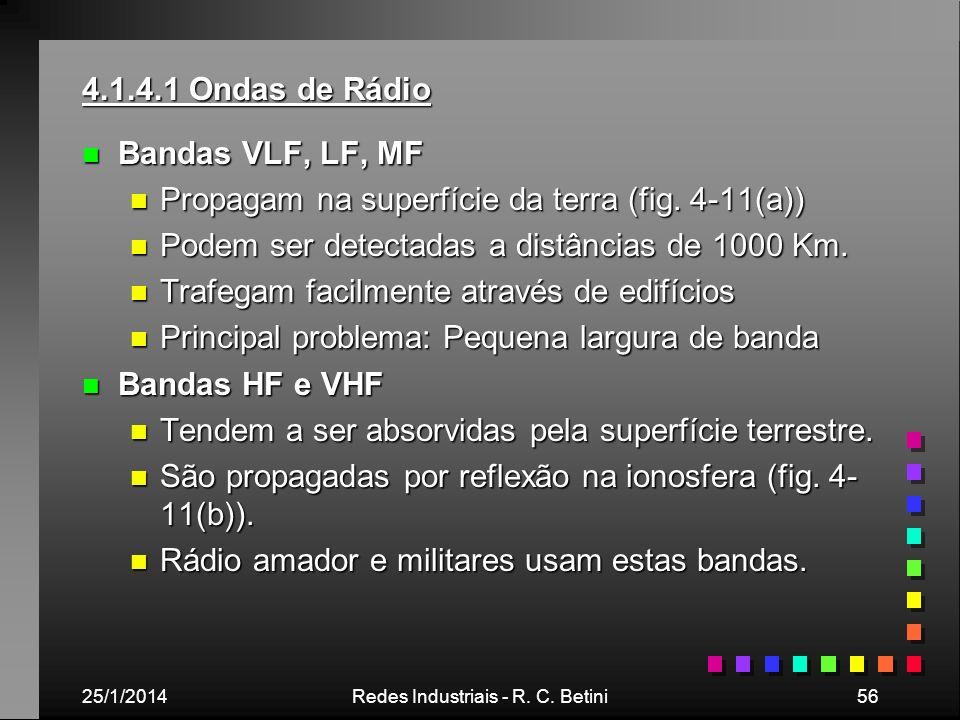 25/1/2014Redes Industriais - R. C. Betini56 4.1.4.1 Ondas de Rádio n Bandas VLF, LF, MF n Propagam na superfície da terra (fig. 4-11(a)) n Podem ser d