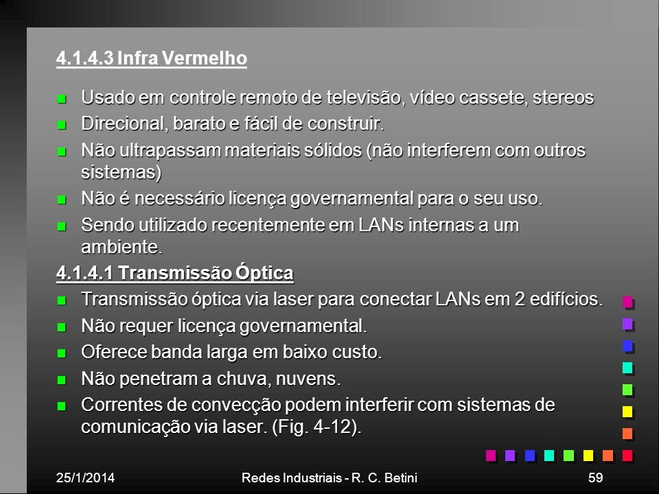 25/1/2014Redes Industriais - R. C. Betini59 4.1.4.3 Infra Vermelho n Usado em controle remoto de televisão, vídeo cassete, stereos n Direcional, barat