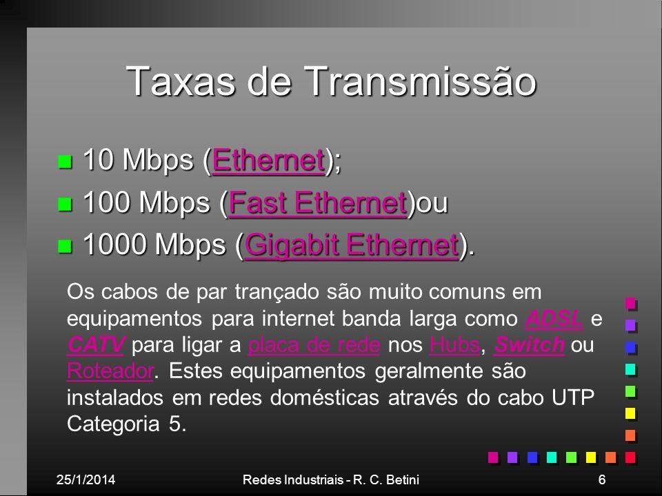 25/1/2014Redes Industriais - R. C. Betini6 Taxas de Transmissão n 10 Mbps (Ethernet); Ethernet n 100 Mbps (Fast Ethernet)ou Fast EthernetFast Ethernet