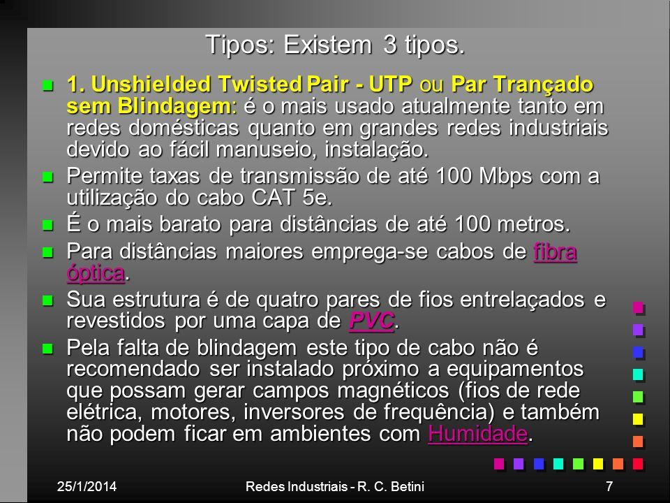 25/1/2014Redes Industriais - R. C. Betini7 Tipos: Existem 3 tipos. n 1. Unshielded Twisted Pair - UTP ou Par Trançado sem Blindagem: é o mais usado at