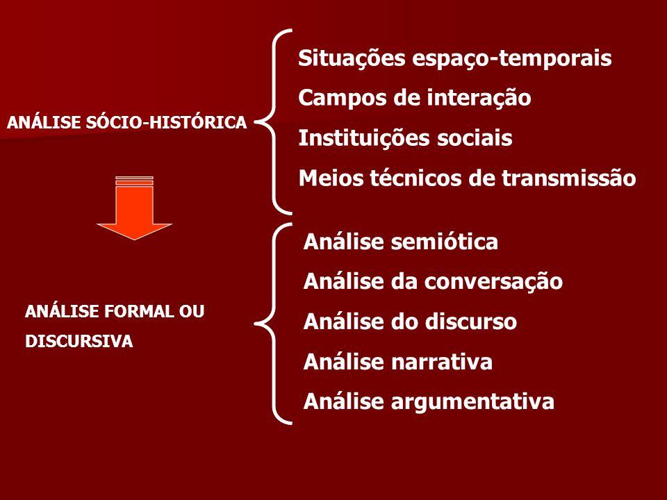 ANÁLISE SÓCIO-HISTÓRICA Situações espaço-temporais Campos de interação Instituições sociais Meios técnicos de transmissão ANÁLISE FORMAL OU DISCURSIVA Análise semiótica Análise da conversação Análise do discurso Análise narrativa Análise argumentativa