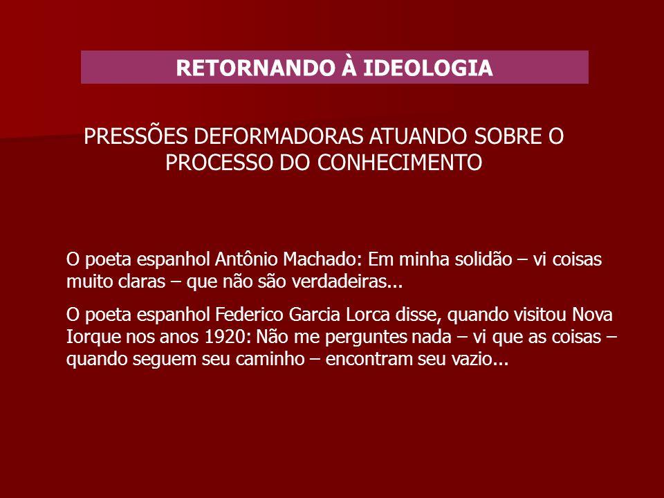 RETORNANDO À IDEOLOGIA PRESSÕES DEFORMADORAS ATUANDO SOBRE O PROCESSO DO CONHECIMENTO O poeta espanhol Antônio Machado: Em minha solidão – vi coisas muito claras – que não são verdadeiras...