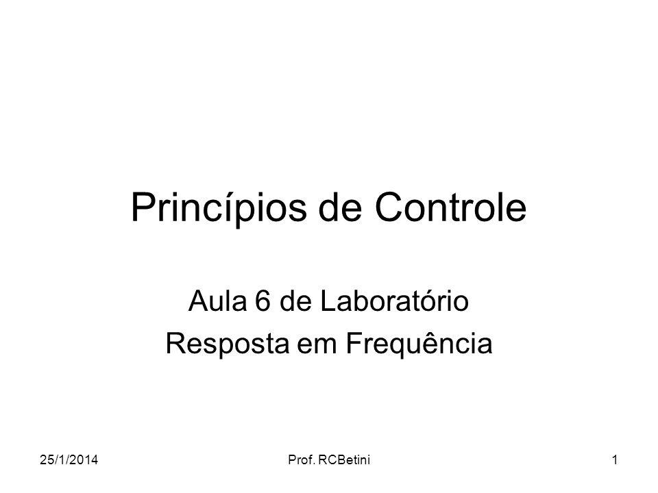 25/1/2014Prof. RCBetini1 Princípios de Controle Aula 6 de Laboratório Resposta em Frequência