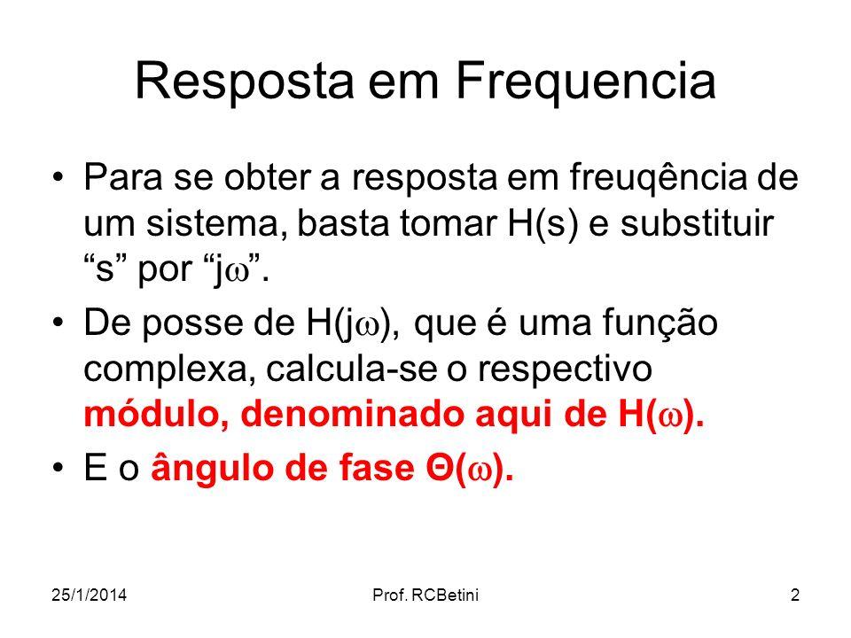 25/1/2014Prof. RCBetini2 Resposta em Frequencia Para se obter a resposta em freuqência de um sistema, basta tomar H(s) e substituir s por j. De posse