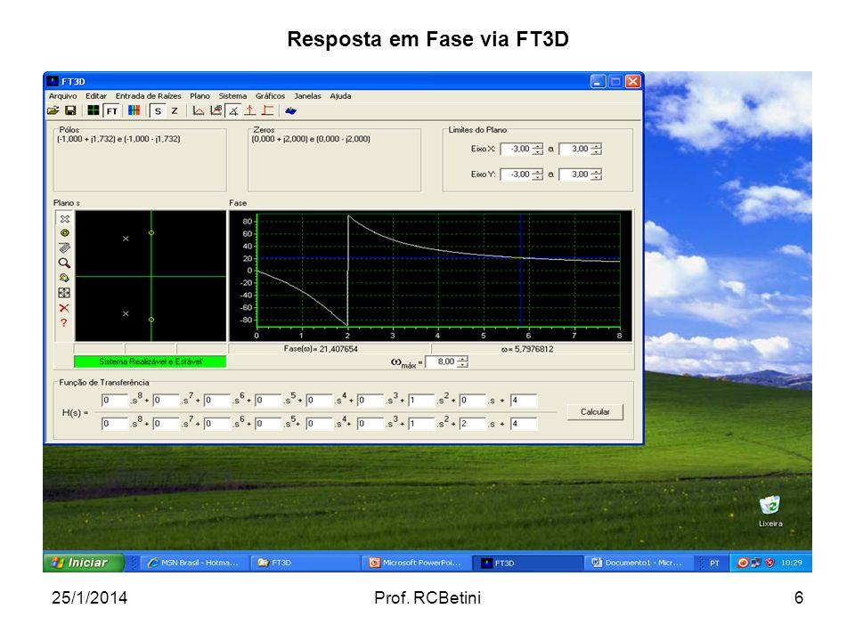 25/1/2014Prof. RCBetini6 Resposta em Fase via FT3D