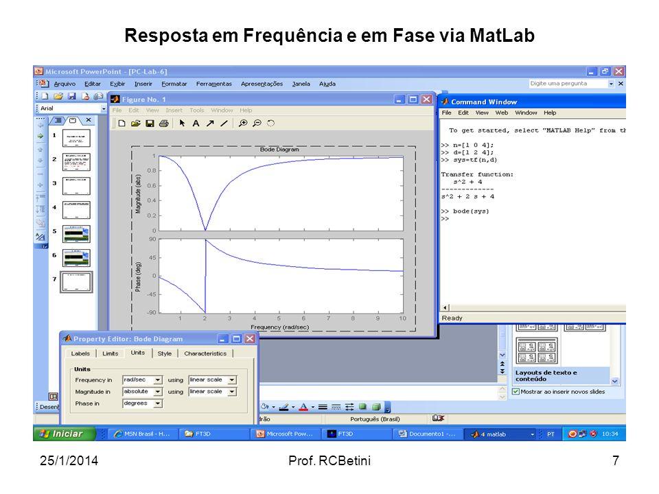 25/1/2014Prof. RCBetini7 Resposta em Frequência e em Fase via MatLab