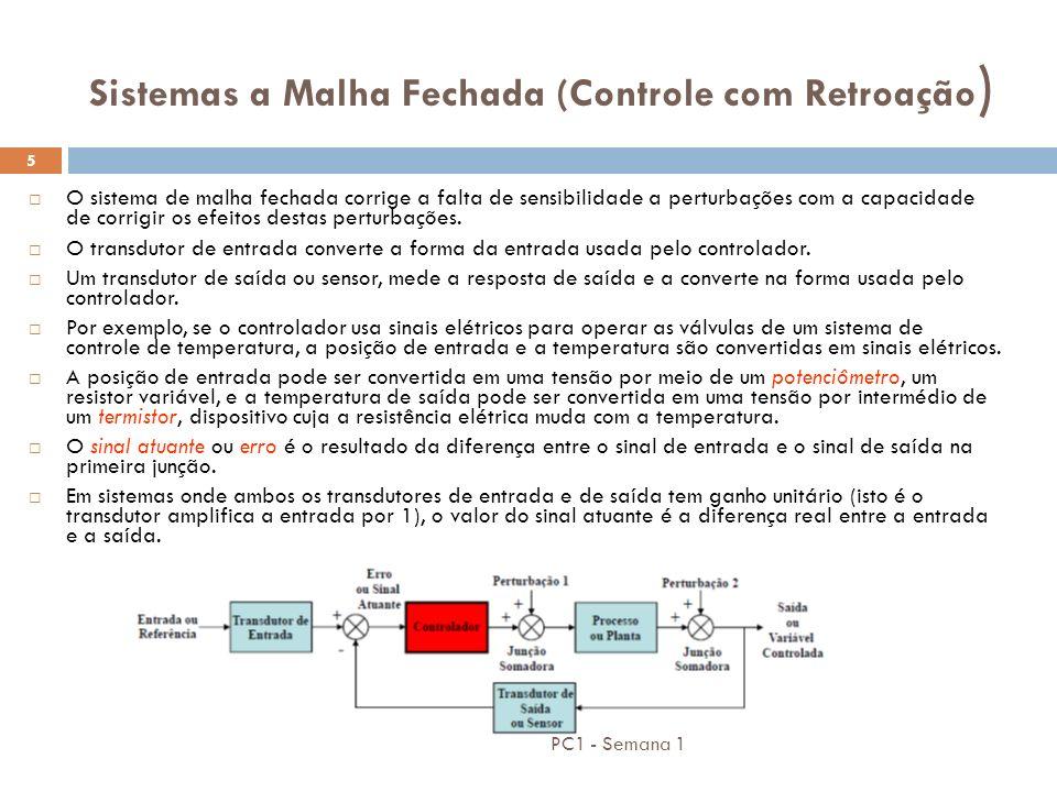 PC1 - Semana 1 5 Sistemas a Malha Fechada (Controle com Retroação ) O sistema de malha fechada corrige a falta de sensibilidade a perturbações com a c