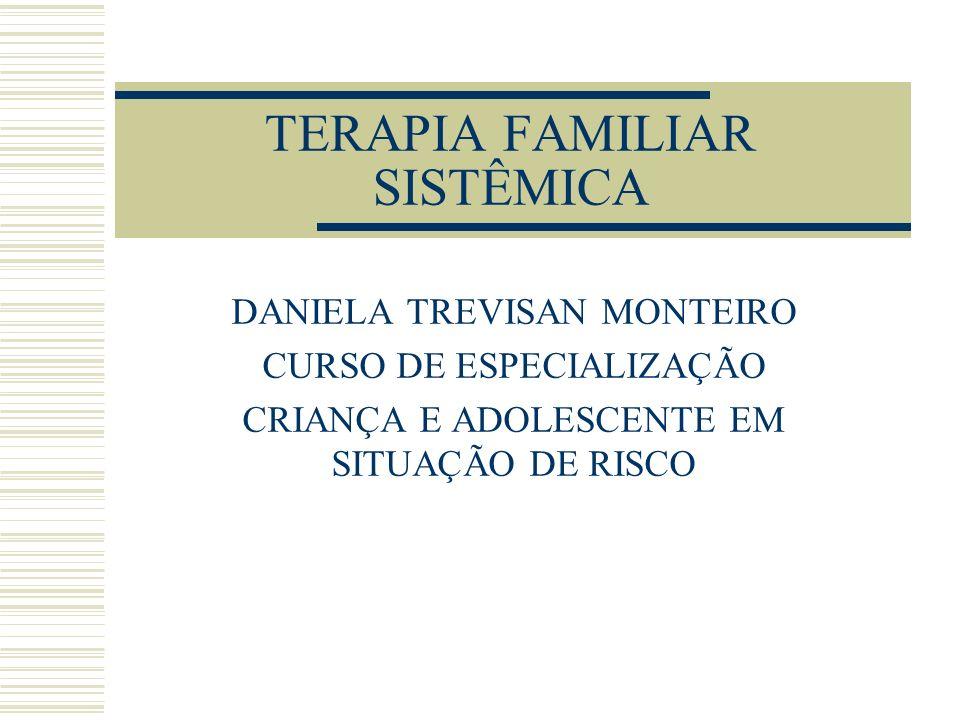 TERAPIA FAMILIAR SISTÊMICA DANIELA TREVISAN MONTEIRO CURSO DE ESPECIALIZAÇÃO CRIANÇA E ADOLESCENTE EM SITUAÇÃO DE RISCO