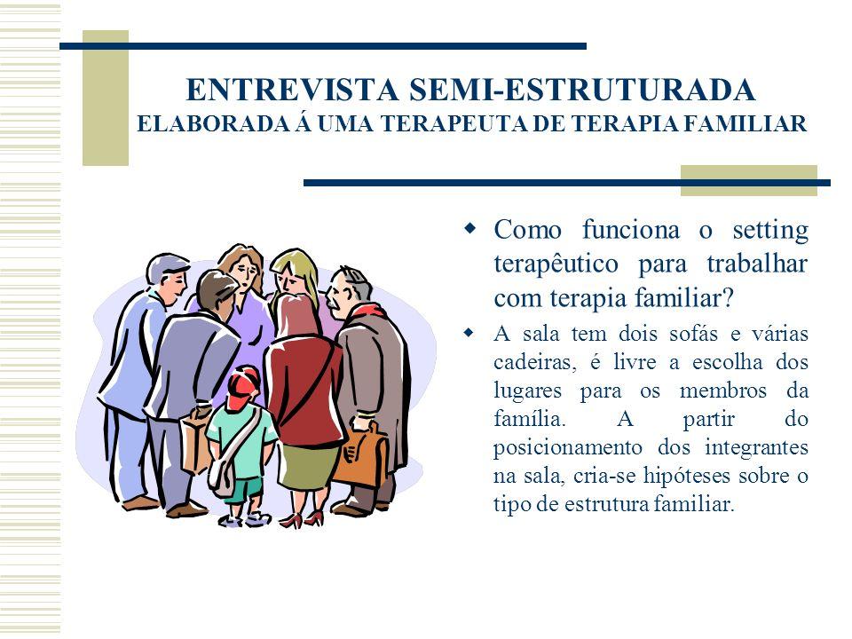 ENTREVISTA SEMI-ESTRUTURADA ELABORADA Á UMA TERAPEUTA DE TERAPIA FAMILIAR Como funciona o setting terapêutico para trabalhar com terapia familiar? A s