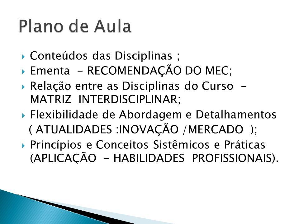 Conteúdos das Disciplinas ; Ementa - RECOMENDAÇÃO DO MEC; Relação entre as Disciplinas do Curso - MATRIZ INTERDISCIPLINAR; Flexibilidade de Abordagem