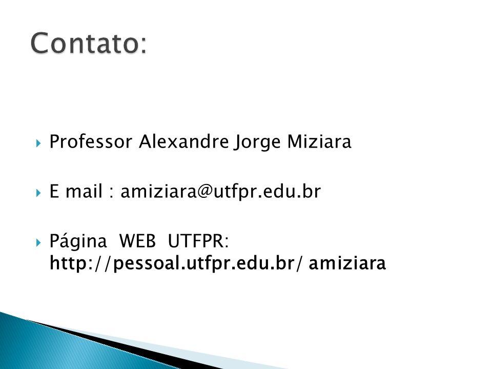 Professor Alexandre Jorge Miziara E mail : amiziara@utfpr.edu.br Página WEB UTFPR: http://pessoal.utfpr.edu.br/ amiziara