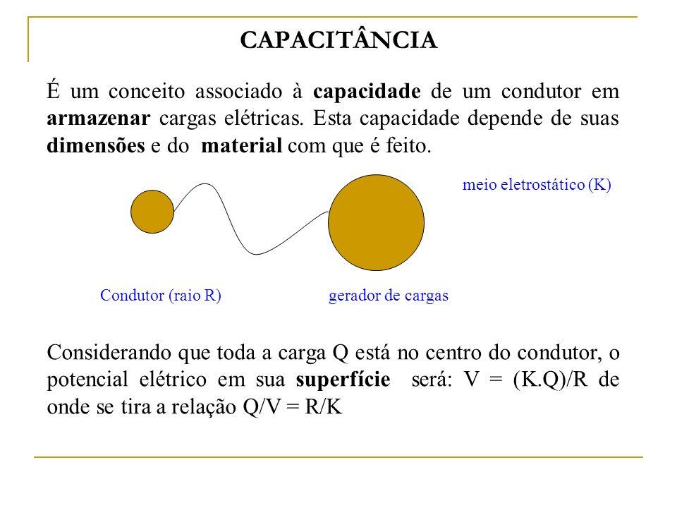 Capacitância Então, capacitância é a capacidade de carga que um condutor pode armazenar por unidade de tensão.