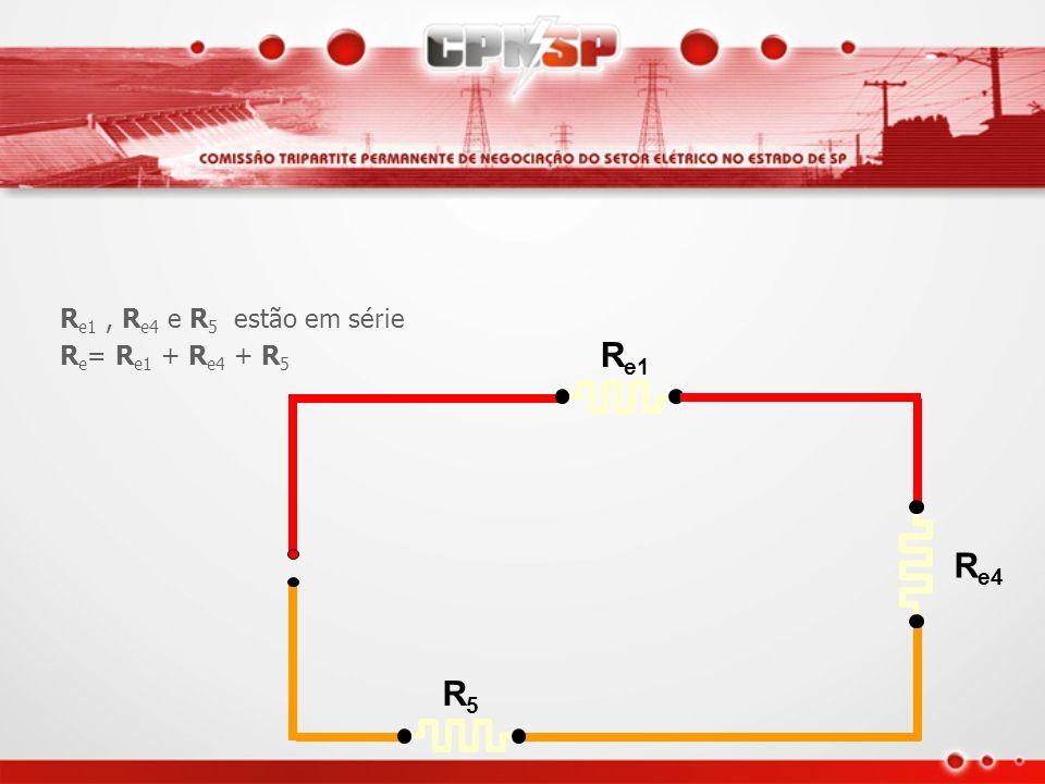 R e1 R e4 R5R5 R e2 e R e3 estão em paralelo R e2 x R e3 R e4 = R e2 + R e3