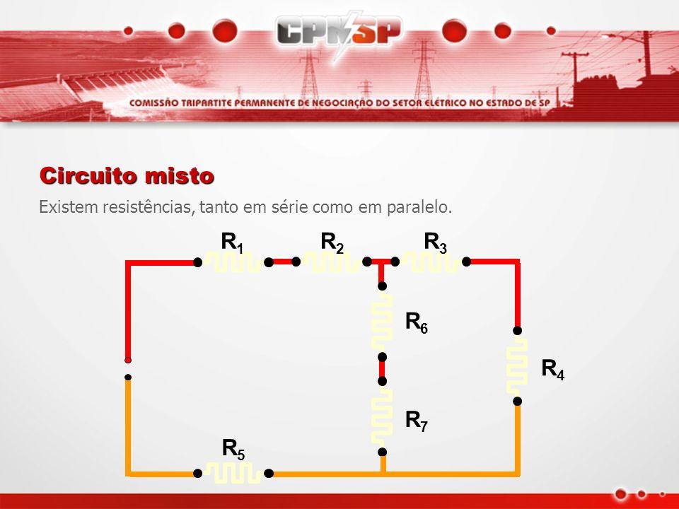 ReRe 1 R1R1 1 R2R2 1 R3R3 1 RnRn 1 =++ +... ReRe =R1R1 +R2R2 + RnRn R3R3 Resumo de fórmulas Circuito série Circuito paralelo