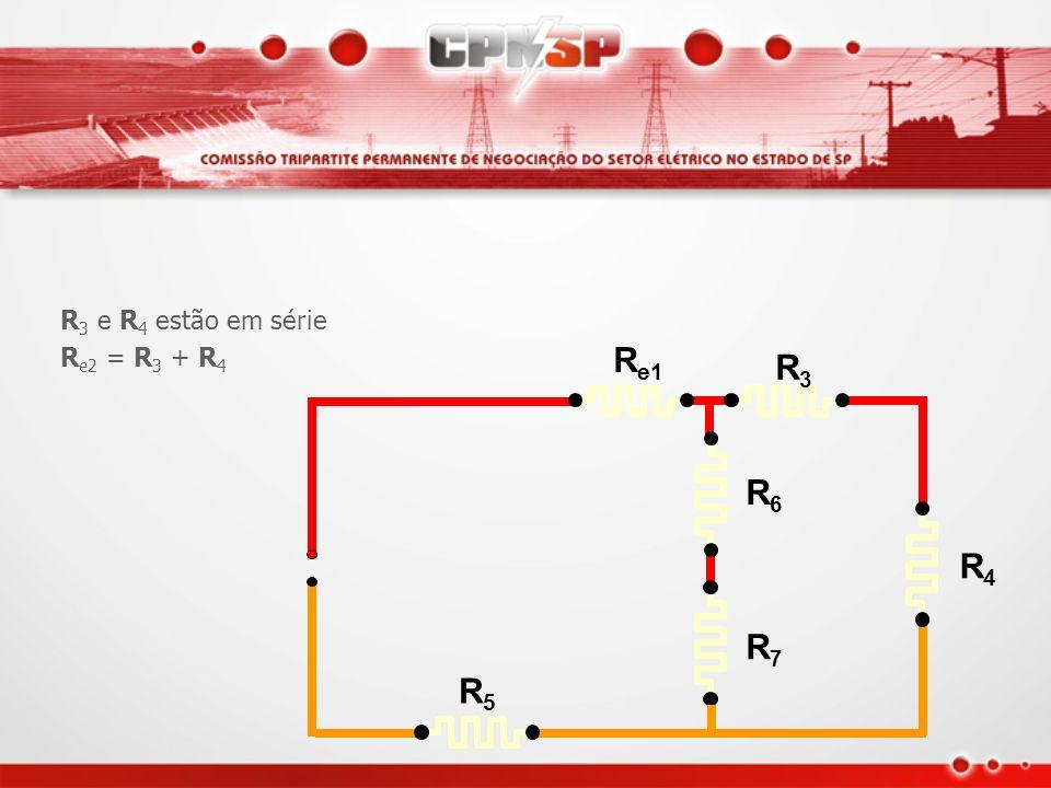 R e1 R3R3 R4R4 R5R5 R6R6 R7R7 R 1 e R 2 estão em série R e1 = R 1 + R 2