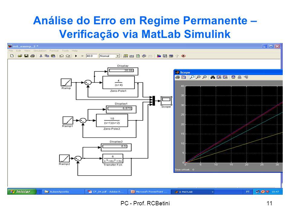 PC - Prof. RCBetini11 Análise do Erro em Regime Permanente – Verificação via MatLab Simulink