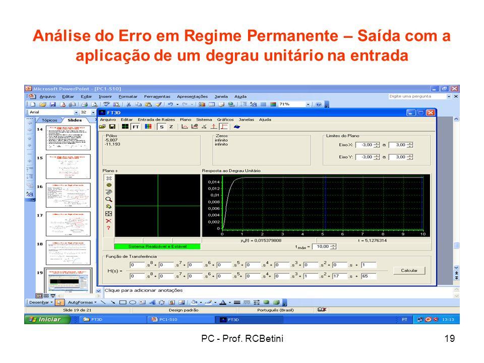 PC - Prof. RCBetini19 Análise do Erro em Regime Permanente – Saída com a aplicação de um degrau unitário na entrada