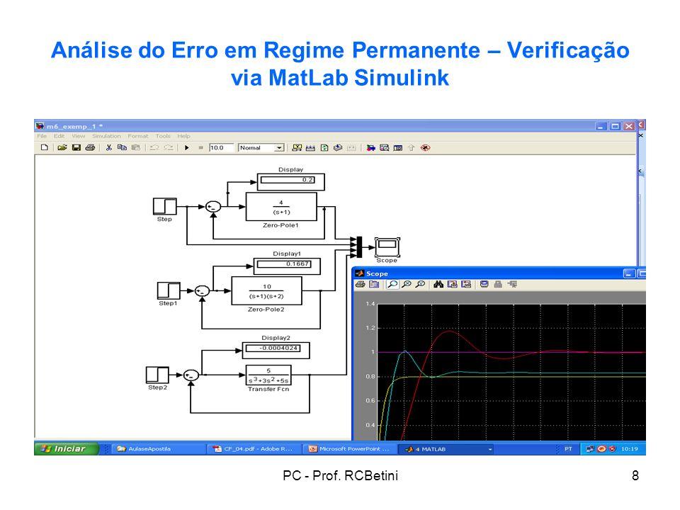 PC - Prof. RCBetini8 Análise do Erro em Regime Permanente – Verificação via MatLab Simulink
