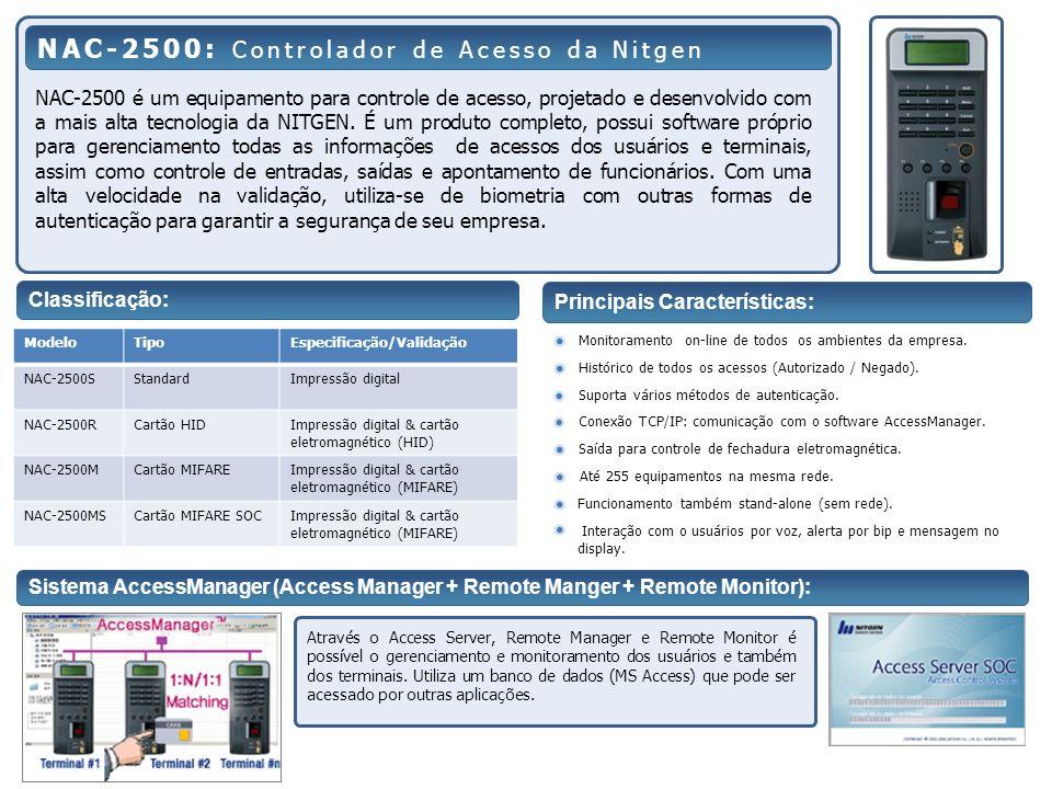 NAC-2500 é um equipamento para controle de acesso, projetado e desenvolvido com a mais alta tecnologia da NITGEN. É um produto completo, possui softwa