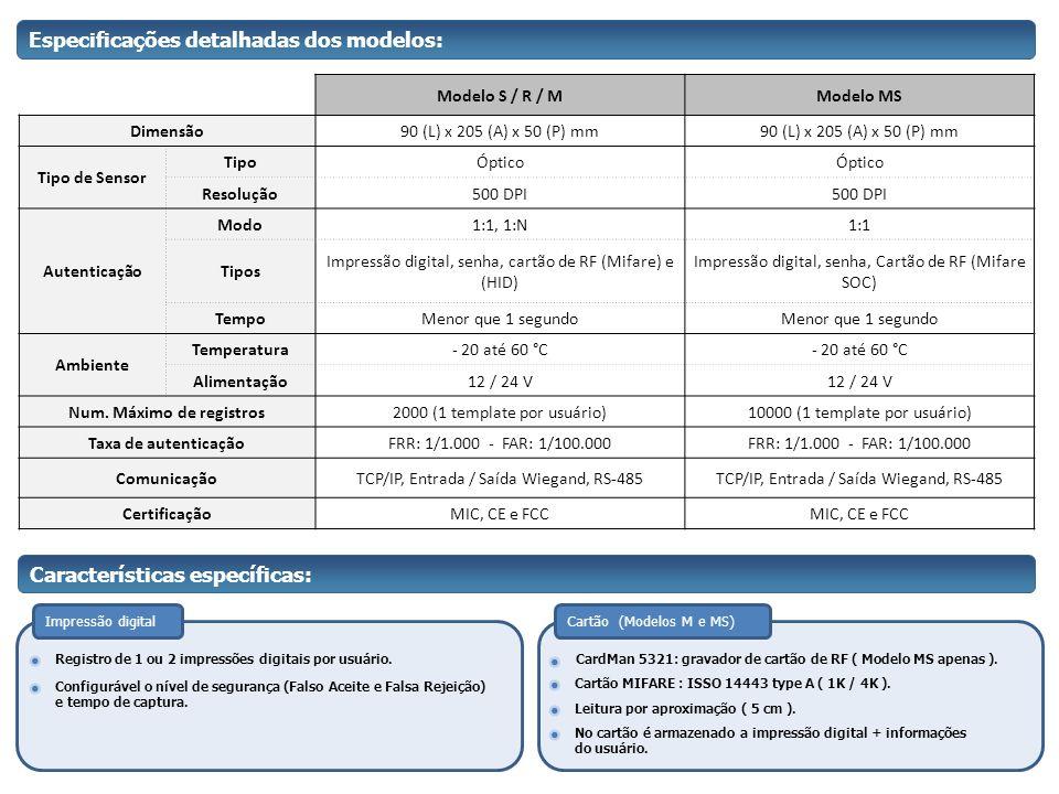 Especificações detalhadas dos modelos: Modelo S / R / MModelo MS Dimensão90 (L) x 205 (A) x 50 (P) mm Tipo de Sensor TipoÓptico Resolução500 DPI Auten