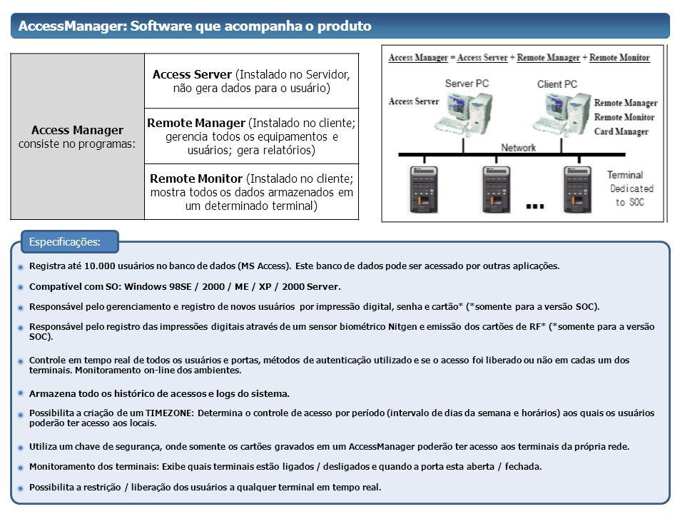 AccessManager: Software que acompanha o produto Access Manager consiste no programas: Access Server (Instalado no Servidor, não gera dados para o usuá
