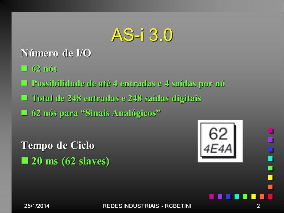 AS-i 3.0 25/1/20142REDES INDUSTRIAIS - RCBETINI Número de I/O n62 nós nPossibilidade de até 4 entradas e 4 saídas por nó nTotal de 248 entradas e 248