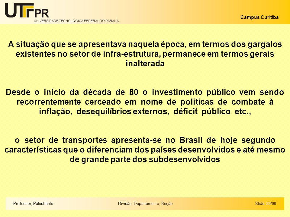UNIVERSIDADE TECNOLÓGICA FEDERAL DO PARANÁ Campus Curitiba Slide: 00/00Divisão, Departamento, SeçãoProfessor, Palestrante: Transporte por rodovias Paises desenvolvidos 30 % Paises Subdesenvolvidos 42 % Brasil 58 % Até os anos 80 o Brasil investia em Infra-Estrutura o equivalente a 6% do PIB Hoje investe o equivalente a 3% Apenas 10000 km estão sob a administração privada Equivalente a 5% da malha pavimentada do país Em outros países a participação é o triplo Na América Latina a participação de 30%