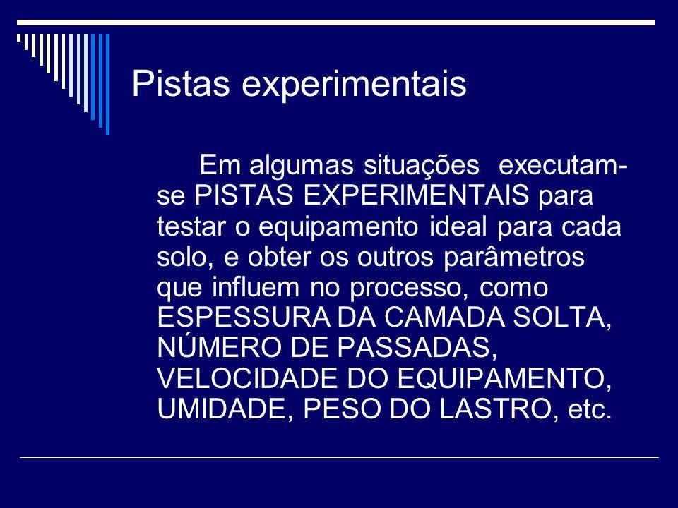 Pistas experimentais Em algumas situações executam- se PISTAS EXPERlMENTAIS para testar o equipamento ideal para cada solo, e obter os outros parâmetr